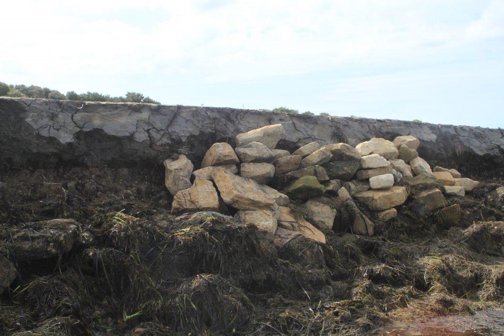 début du pansement de pierre pour la digue de front de mer